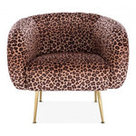 Leopard Print / Gold Grey Luxe Curve Modern Art Deco Style Velvet Armchair - Pebble & Leaf HomeFurniture