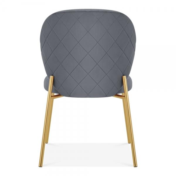Luxe Mantis Velvet Grey Gold Dining - Dressing Table Chair - Pebble & Leaf HomeFurniture