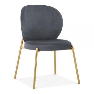 Grey Velvet / Golden Luxe Mantis Velvet Black Gold Dining - Dressing Table Chair - Pebble & Leaf HomeFurniture