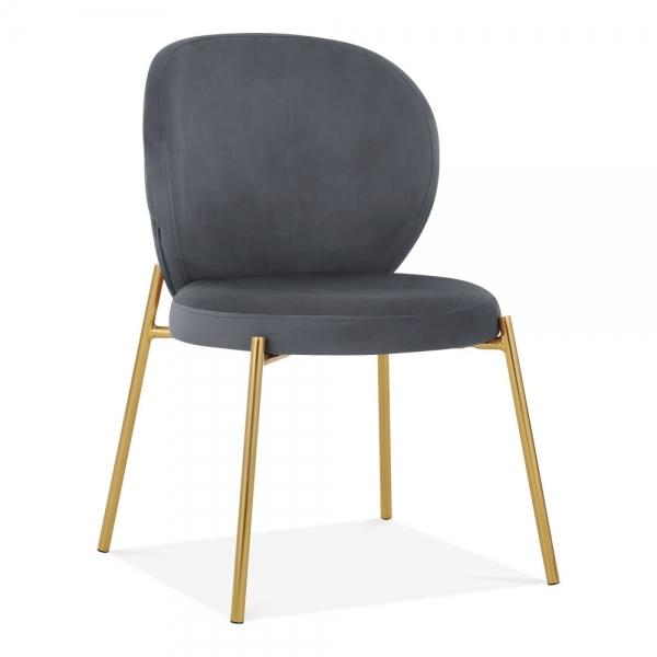 Grey Velvet / Golden Luxe Mantis Velvet Grey Gold Dining - Dressing Table Chair - Pebble & Leaf HomeFurniture