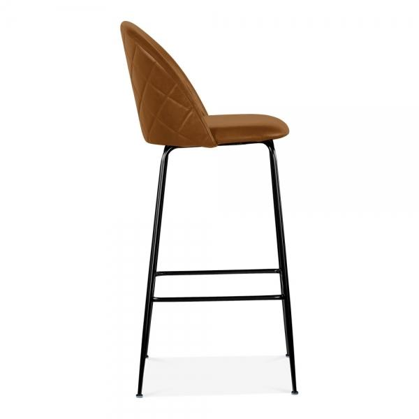 Tan / Black Luxe Leather Look Diamond Bar Stool 65cm Copper - Black - Brass Leg - Pebble & Leaf HomeFurniture