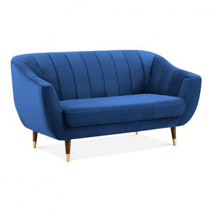Blue / Wood Gold Luxe Modern Art Deco Style Scalloped Blue Velvet 2 Seater Sofa - Pebble & Leaf HomeFurniture