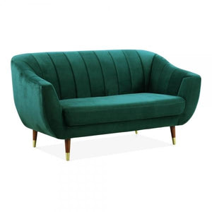 Dark Teal Sea Green / Wood Gold Luxe Modern Art Deco Style Scalloped Blue Velvet 2 Seater Sofa - Pebble & Leaf HomeFurniture