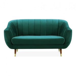 Luxe Modern Art Deco Style Antique Mustard Gold Velvet 2 Seater Sofa - Pebble & Leaf HomeFurniture