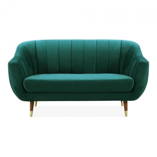 Luxe Modern Art Deco Style Scalloped Blue Velvet 2 Seater Sofa - Pebble & Leaf HomeFurniture