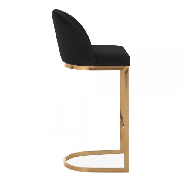 Black / Brass / 75 cm Luxe Curve Cantilever Velvet High Back Copper - Brass - Black Leg Bar Stool 75 cm - Pebble & Leaf HomeFurniture