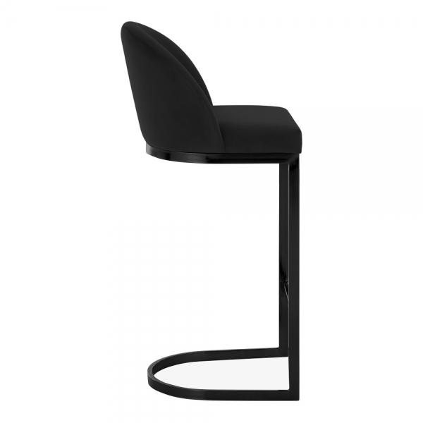 Black / Black / 75 cm Luxe Curve Cantilever Velvet High Back Copper - Brass - Black Leg Bar Stool 75 cm - Pebble & Leaf HomeFurniture