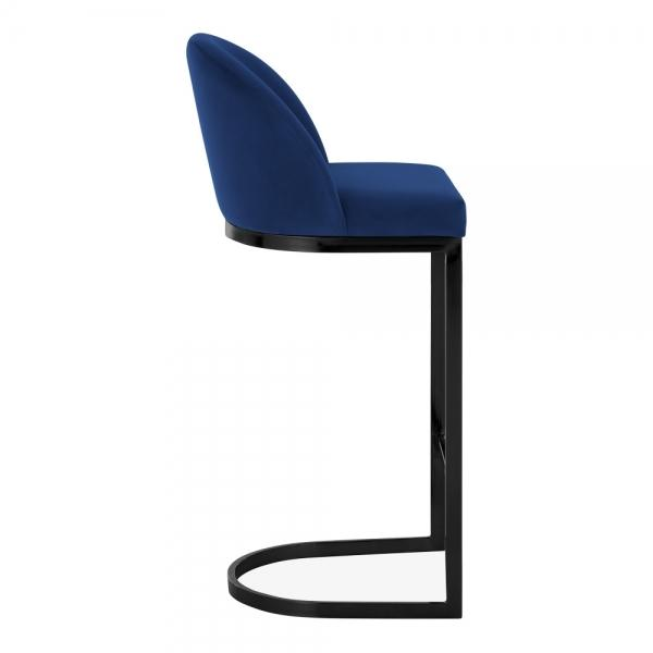 Blue / Black / 75 cm Luxe Curve Cantilever Velvet High Back Copper - Brass - Black Leg Bar Stool 75 cm - Pebble & Leaf HomeFurniture