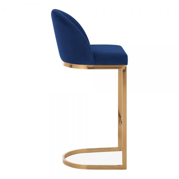 Blue / Brass / 75 cm Luxe Curve Cantilever Velvet High Back Copper - Brass - Black Leg Bar Stool 75 cm - Pebble & Leaf HomeFurniture