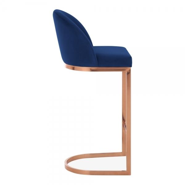 Blue / Copper / 75 cm Luxe Curve Cantilever Velvet High Back Copper - Brass - Black Leg Bar Stool 75 cm - Pebble & Leaf HomeFurniture
