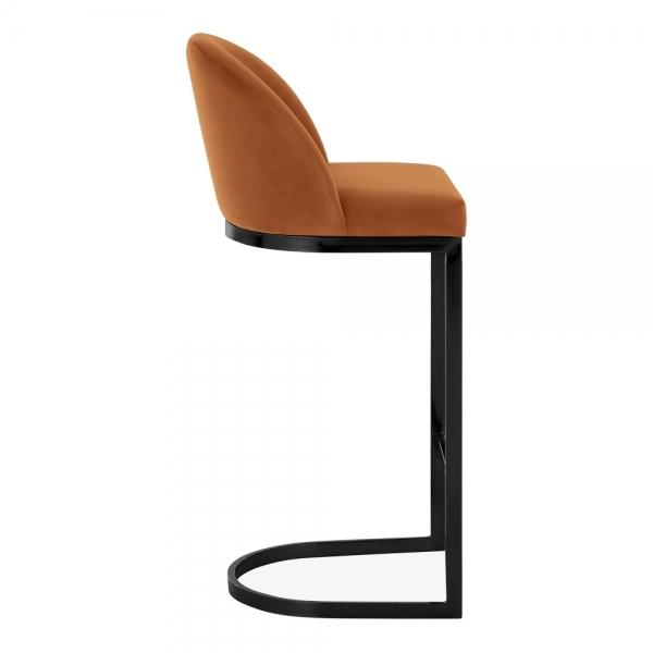Burnt Orange / Black / 75 cm Luxe Curve Cantilever Velvet High Back Copper - Brass - Black Leg Bar Stool 75 cm - Pebble & Leaf HomeFurniture