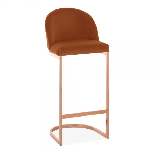 Luxe Curve Cantilever Velvet High Back Copper - Brass - Black Leg Bar Stool 75 cm - Pebble & Leaf HomeFurniture