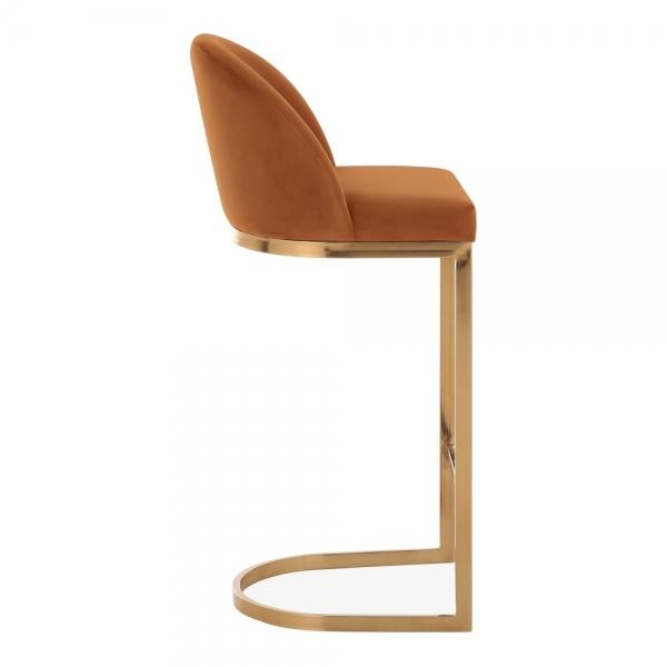 Burnt Orange / Brass / 75 cm Luxe Curve Cantilever Velvet High Back Copper - Brass - Black Leg Bar Stool 75 cm - Pebble & Leaf HomeFurniture