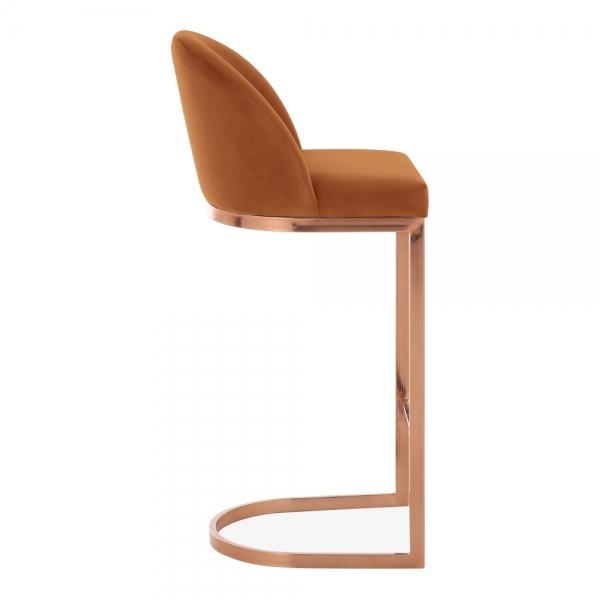 Burnt Orange / Copper / 75 cm Luxe Curve Cantilever Velvet High Back Copper - Brass - Black Leg Bar Stool 75 cm - Pebble & Leaf HomeFurniture