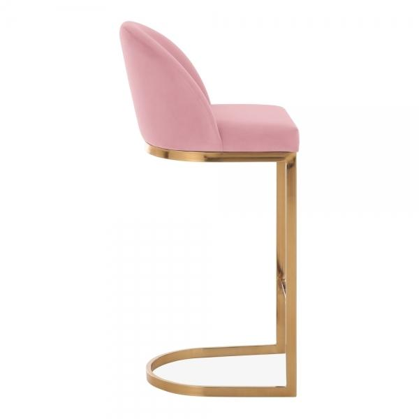 Pink / Brass / 75 cm Luxe Curve Cantilever Velvet High Back Copper - Brass - Black Leg Bar Stool 75 cm - Pebble & Leaf HomeFurniture