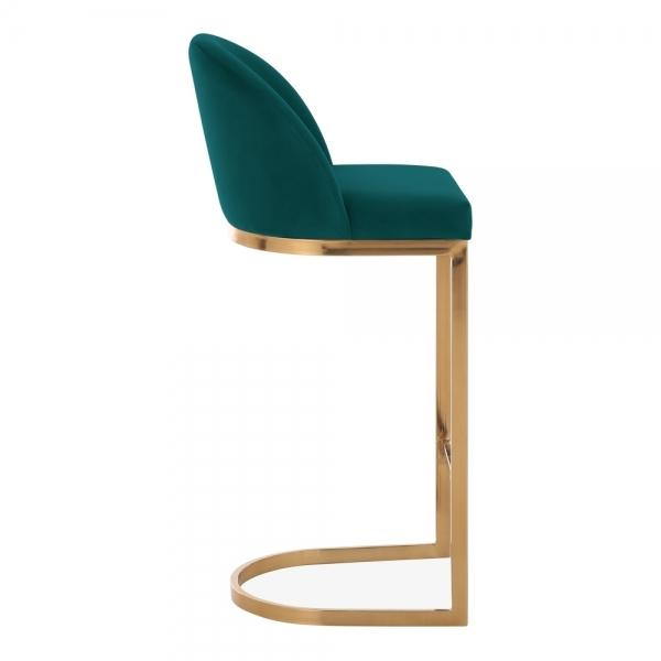 Emerald Green / Brass / 75 cm Luxe Curve Cantilever Velvet High Back Copper - Brass - Black Leg Bar Stool 75 cm - Pebble & Leaf HomeFurniture