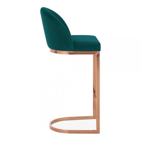Emerald Green / Copper / 75 cm Luxe Curve Cantilever Velvet High Back Copper - Brass - Black Leg Bar Stool 75 cm - Pebble & Leaf HomeFurniture