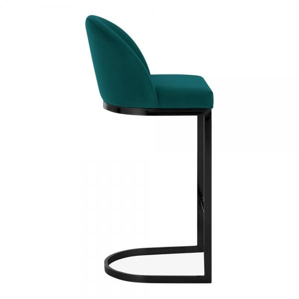Emerald Green / Black / 75 cm Luxe Curve Cantilever Velvet High Back Copper - Brass - Black Leg Bar Stool 75 cm - Pebble & Leaf HomeFurniture
