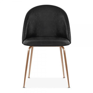 Black Luxe Leather Look Diamond Dining Chair Copper Leg - Pebble & Leaf HomeFurniture