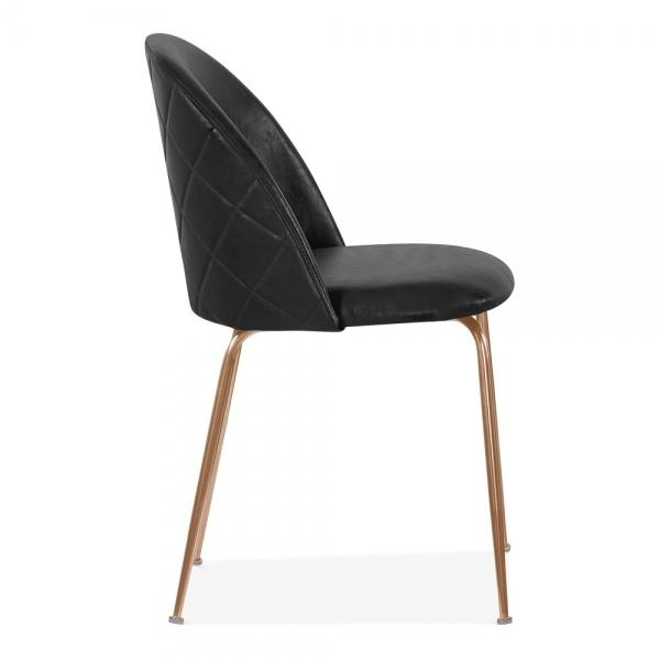 Black / Brass Black Luxe Leather Look Diamond Dining Chair Copper Leg - Pebble & Leaf HomeFurniture
