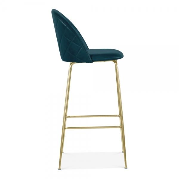 Teal Blue / Brass Luxe Leather Look Diamond Bar Stool 65cm Copper - Black - Brass Leg - Pebble & Leaf HomeFurniture