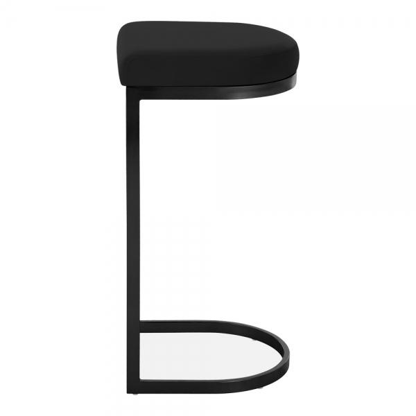 Black / Black / 75 cm Luxe Curve Velvet Under Counter Bar Stool Copper - Brass - Black Leg 75 cm - Pebble & Leaf HomeFurniture