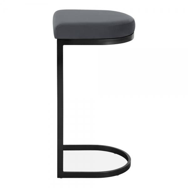 Grey / Black / 75 cm Luxe Curve Velvet Under Counter Bar Stool Copper - Brass - Black Leg 75 cm - Pebble & Leaf HomeFurniture