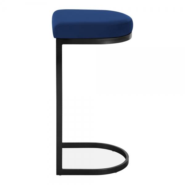 Blue / Black / 75 cm Luxe Curve Velvet Under Counter Bar Stool Copper - Brass - Black Leg 75 cm - Pebble & Leaf HomeFurniture