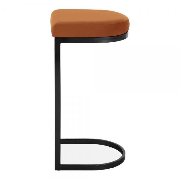 Burnt Orange / Black / 75 cm Luxe Curve Velvet Under Counter Bar Stool Copper - Brass - Black Leg 75 cm - Pebble & Leaf HomeFurniture