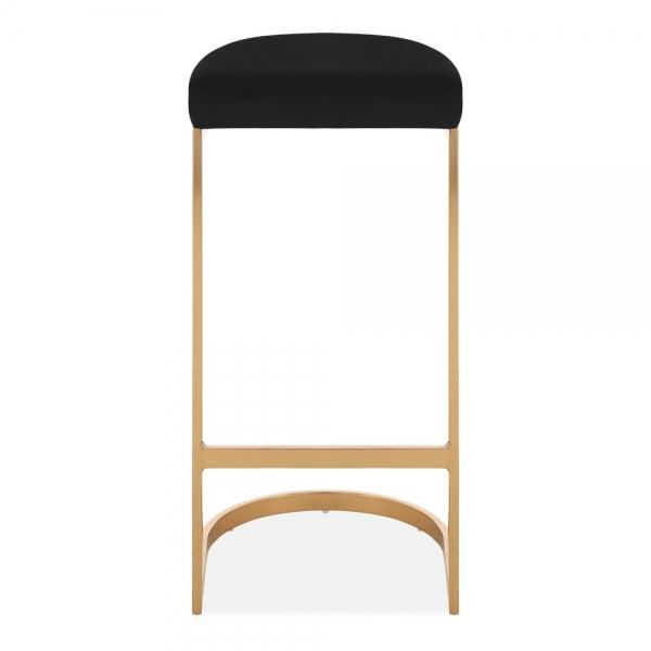 Black / Brass / 75 cm Luxe Curve Velvet Under Counter Bar Stool Copper - Brass - Black Leg 75 cm - Pebble & Leaf HomeFurniture