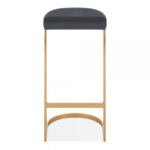 Grey / Brass / 75 cm Luxe Curve Velvet Under Counter Bar Stool Copper - Brass - Black Leg 75 cm - Pebble & Leaf HomeFurniture