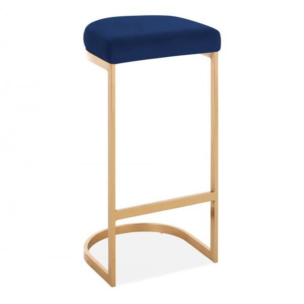 Blue / Brass / 75 cm Luxe Curve Velvet Under Counter Bar Stool Copper - Brass - Black Leg 75 cm - Pebble & Leaf HomeFurniture