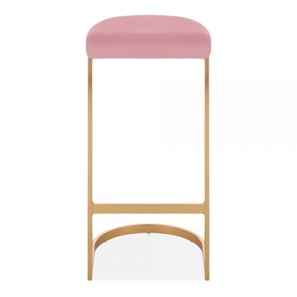 Pink / Brass / 75 cm Luxe Curve Velvet Under Counter Bar Stool Copper - Brass - Black Leg 75 cm - Pebble & Leaf HomeFurniture