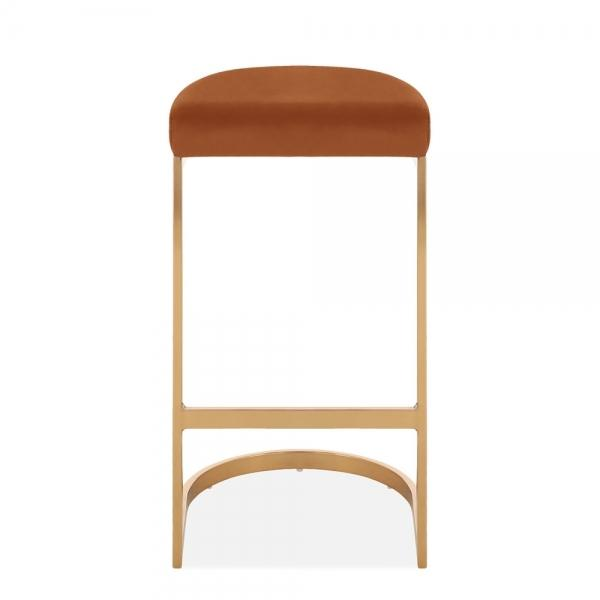 Burnt Orange / Brass / 75 cm Luxe Curve Velvet Under Counter Bar Stool Copper - Brass - Black Leg 75 cm - Pebble & Leaf HomeFurniture