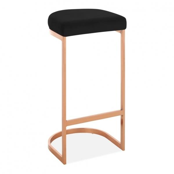 Black / Copper / 75 cm Luxe Curve Velvet Under Counter Bar Stool Copper - Brass - Black Leg 75 cm - Pebble & Leaf HomeFurniture