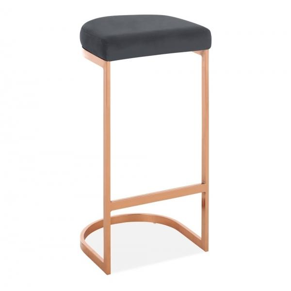 Grey / Copper / 75 cm Luxe Curve Velvet Under Counter Bar Stool Copper - Brass - Black Leg 75 cm - Pebble & Leaf HomeFurniture