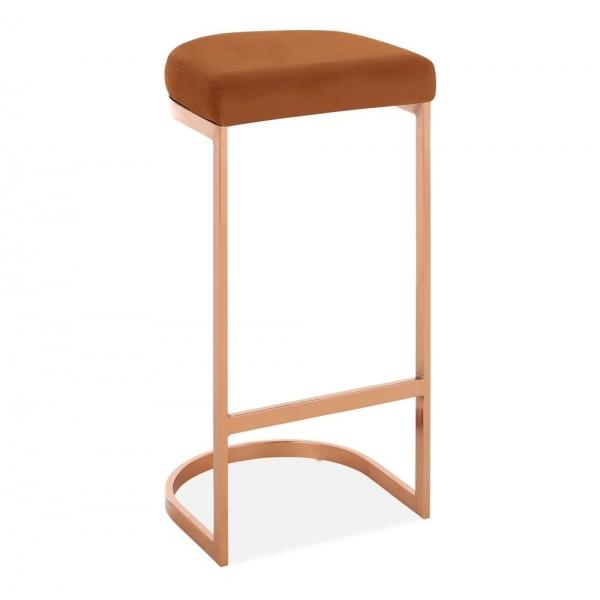 Burnt Orange / Copper / 75 cm Luxe Curve Velvet Under Counter Bar Stool Copper - Brass - Black Leg 75 cm - Pebble & Leaf HomeFurniture