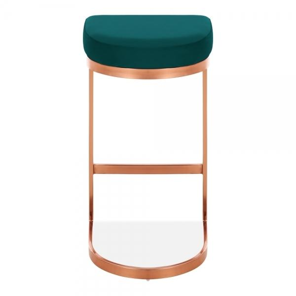 Teal / Copper / 75 cm Luxe Curve Velvet Under Counter Bar Stool Copper - Brass - Black Leg 75 cm - Pebble & Leaf HomeFurniture