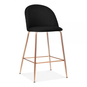 Black / Copper / 65 cm Black Luxe Diamond Velvet Bar Stool Chair 65 cm 75 cm Rose Copper Leg - Pebble & Leaf HomeFurniture
