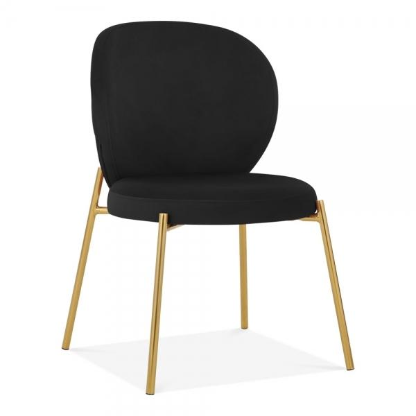 Black Velvet / Golden Luxe Mantis Velvet Black Gold Dining - Dressing Table Chair - Pebble & Leaf HomeFurniture