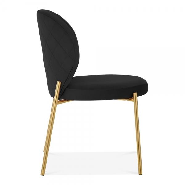 Luxe Mantis Velvet Black Gold Dining - Dressing Table Chair - Pebble & Leaf HomeFurniture