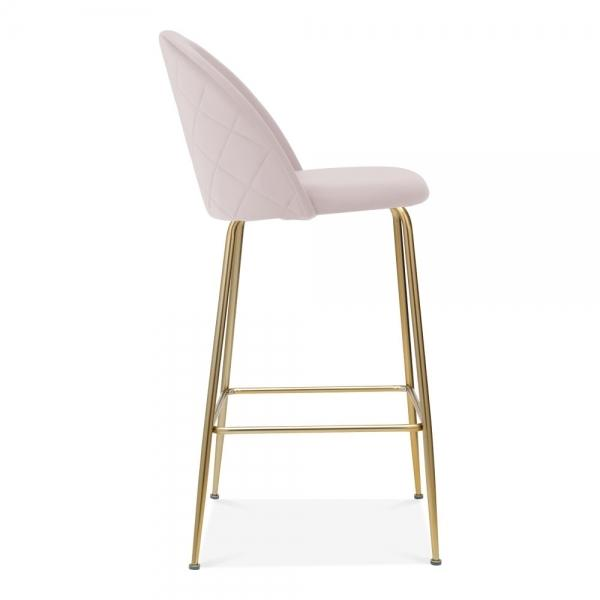 Pink / Brass / 65cm Bar Stool Pale Blush Pink Luxe Diamond Velvet Bar Stool 65 - 75cm Gold Brass Leg - Pebble & Leaf HomeFurniture