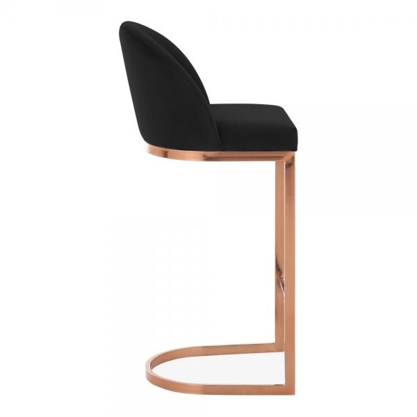 Black / Copper / 75 cm Luxe Curve Cantilever Velvet High Back Copper - Brass - Black Leg Bar Stool 75 cm - Pebble & Leaf HomeFurniture