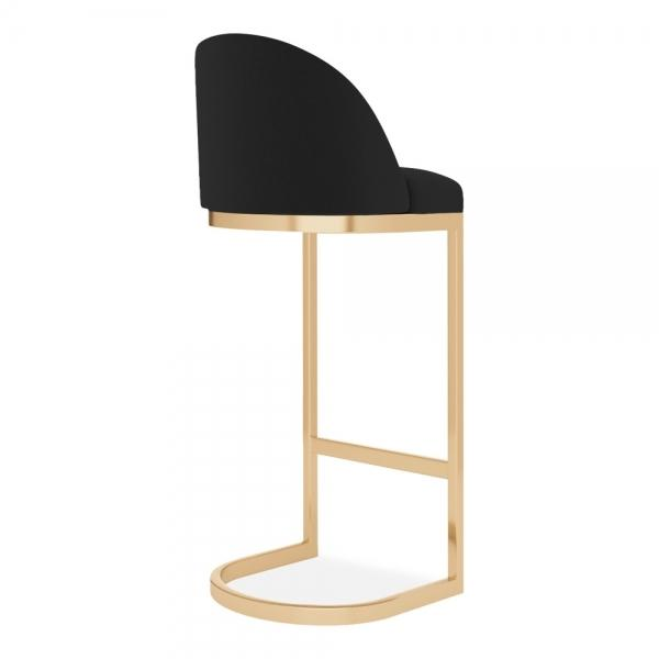 Black Velvet Luxe Curve Cantilever - Copper - Brass - Black - Chrome Leg Bar Stool 65cm - 75cm