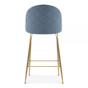 Powder Blue Luxe Diamond Velvet Bar Stool 65cm Gold Brass . Copper . Black Leg - Pebble & Leaf HomeFurniture