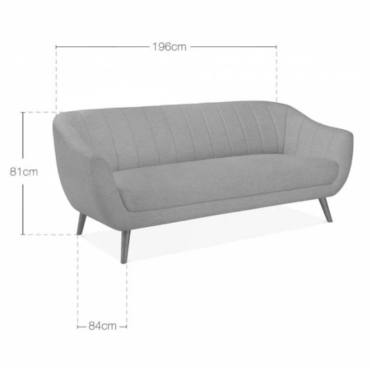 Luxe Art Deco Shell Curved Grey Velvet 3 Seater Sofa - Pebble & Leaf HomeFurniture