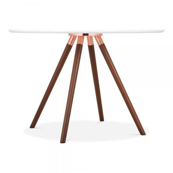 Solid Dark Oak Wood and Copper Mode Icon C1 White Copper . Gold . Chrome . Black Metal Leg . Dark Wood . Oak Dining Table 110cm - Pebble & Leaf HomeFurniture