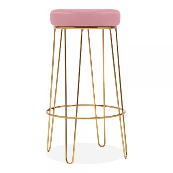 Blossom Millennial Pink Velvet / Gold Brass / Round Bar Stool 75cm Blossom Millennial Pink Luxe Diamond Velvet Under Counter Bar Stool Hairpin Gold Brass Metal Leg - Pebble & Leaf HomeFurniture