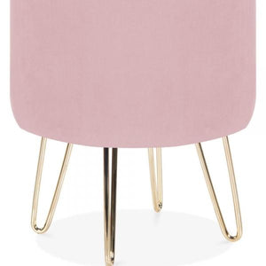 Blossom Millennial Pink Luxe Diamond Velvet Low Footstool Gold Brass Metal Leg - Pebble & Leaf HomeFurniture