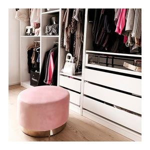 Blossom Millennial Pink Luxe Diamond Velvet Low Footstool Hairpin Gold Brass Metal Leg - Pebble & Leaf HomeFurniture